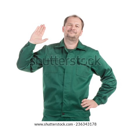 Worker with arm. Isolated on a white background. - stock photo