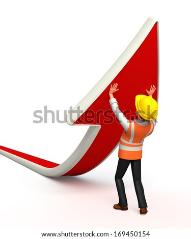Worker with arrow - stock photo