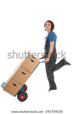 Worker with boxes on hand truck jumping from happiness  isolated over white background - stock photo