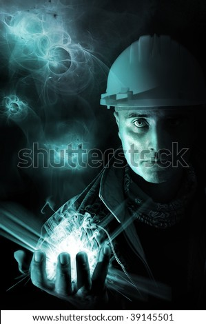 Worker with bright light  in his hand