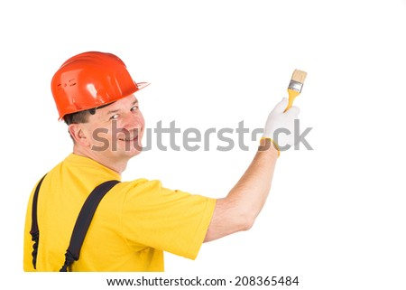 Worker with brush. Isolated on a white background.