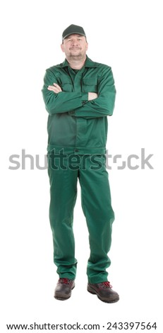 Worker with crossed arms. Isolated on a white background. - stock photo