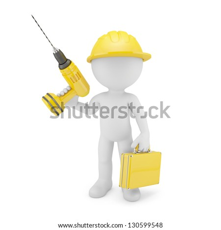 Worker with drill. Isolated on white - stock photo