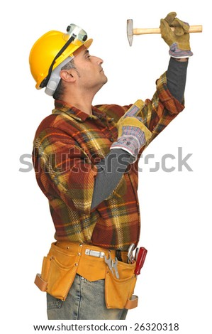 worker with hammer isolated in white - stock photo