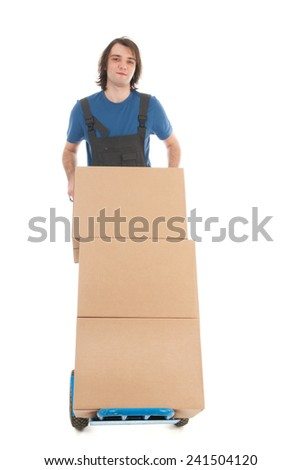 Worker with hand truck and carton boxes isolated over white background