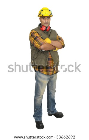 Worker with hat and earphones isolated in white - stock photo