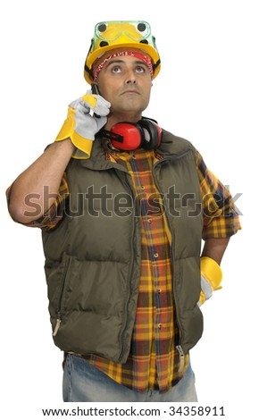 Worker with hat and phone isolated in white