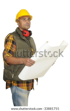 Worker with hat and project isolated in white - stock photo