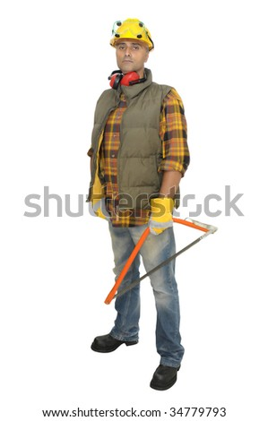 Worker with hat and saw isolated in white - stock photo