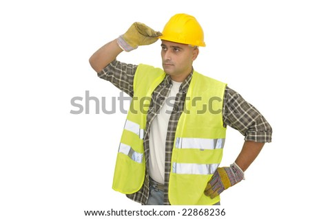 worker with hat isolated against a white background