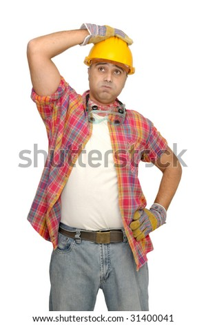 worker with hat isolated in white - stock photo