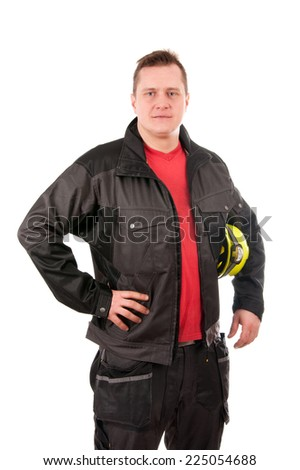 Worker with helmet isolated on white background - stock photo