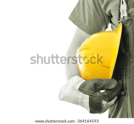 Worker with helmet isolated on white background