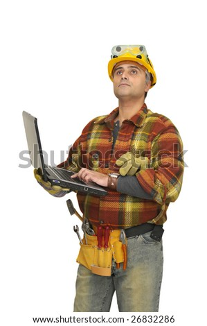 Worker with laptop isolated in white - stock photo
