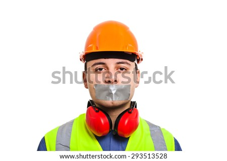 Worker with mouth covered by an adhesive tape - stock photo