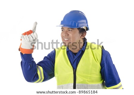 worker with personal protective equipment thinking and got an idea