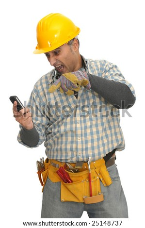 worker with phone isolated in white
