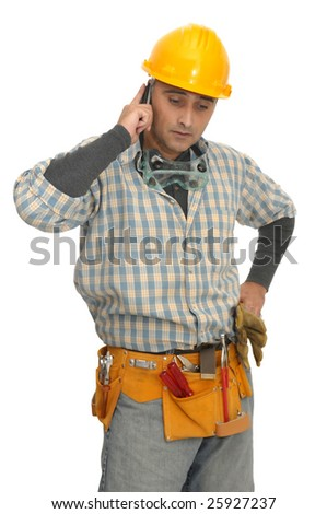 worker with phone isolated in white - stock photo