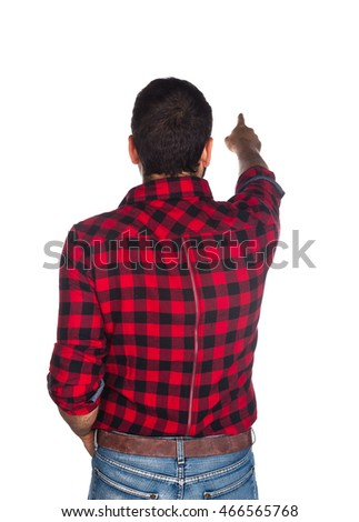 Worker with plaid shirt on white background