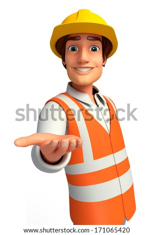 Worker with presenting - stock photo