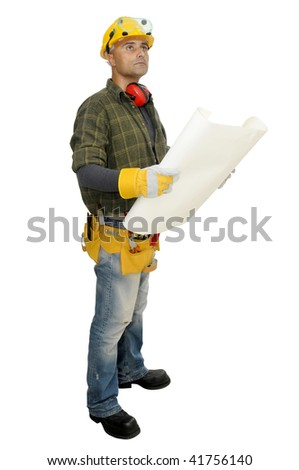 Worker with project looking at the construction site isolated in white - stock photo