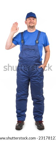 Worker with raised hand. Isolated on a white background.
