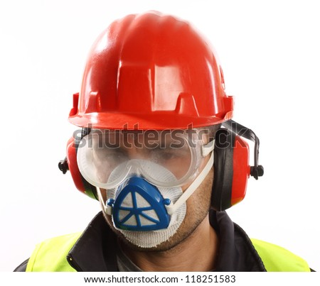 worker with red helmet and mask over white