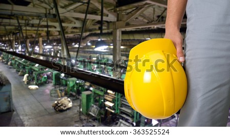 Worker with safety helmet  - stock photo