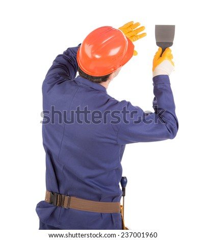 Worker with spatula. Isolated on a white background.