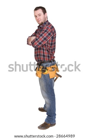 worker with tools. over white background - stock photo