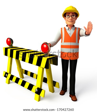 Worker with under construction road sign - stock photo