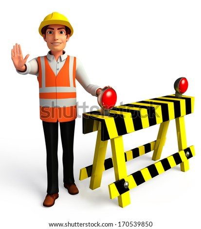 Worker with under construction sign - stock photo