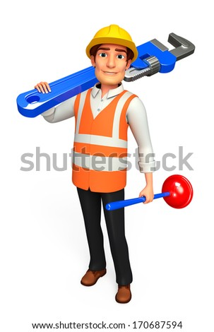 Worker with wrench and toilet plunger - stock photo