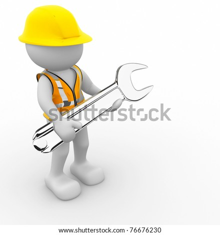 Worker with wrench - this is a 3d render illustration