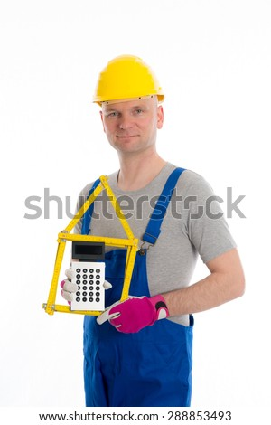 worker with yardstick- house and pocket calculator