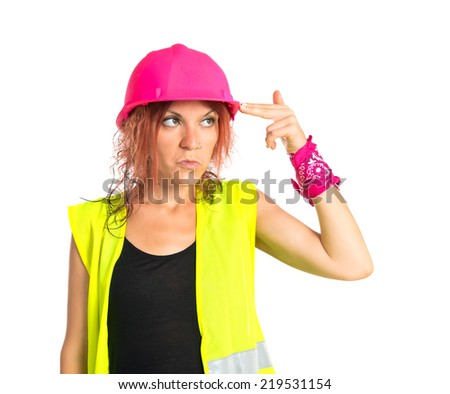 Worker woman making suicide gesture over white background