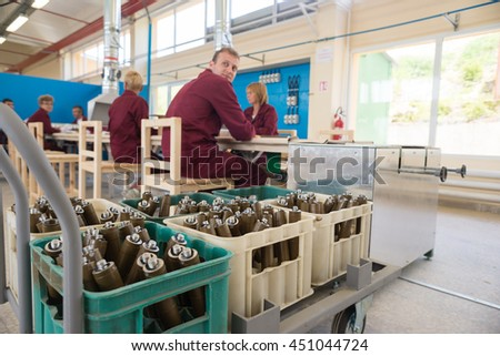 Workers and RPG granaes at producion weapon line during assebly in a munition producing factory. Sopot, Bulgaria, May 17, 2016.