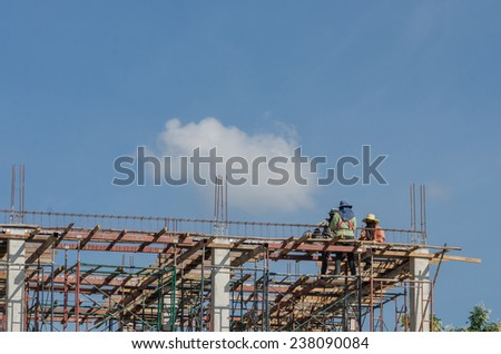Workers are building - stock photo