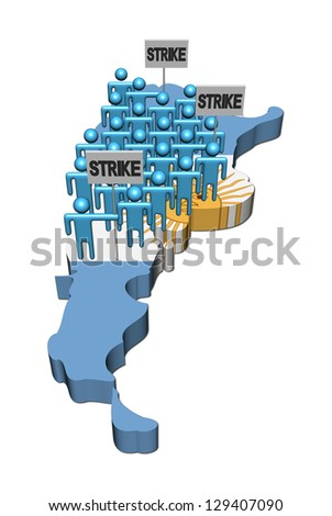 workers on strike on Argentina map flag illustration - stock photo