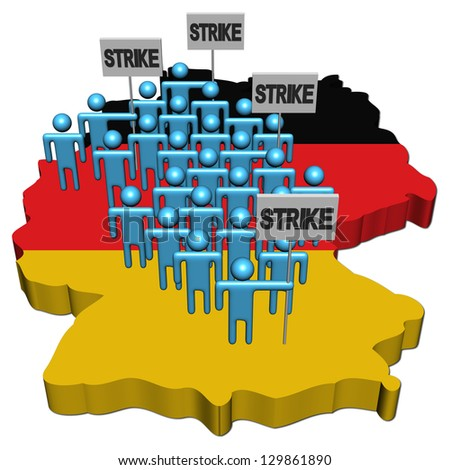 workers on strike on Germany map flag illustration - stock photo