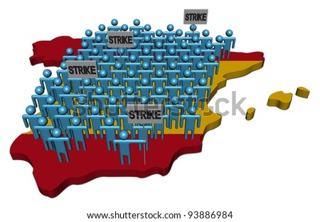 workers on strike on Spain map flag illustration - stock photo