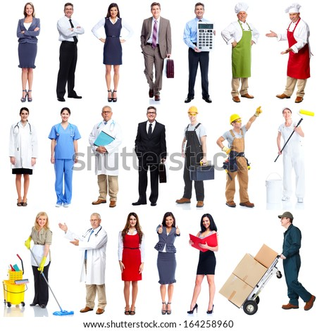 Workers people set isolated over white background. - stock photo