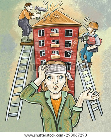 Workers renovating a house is noisy. a woman a headache. - stock photo