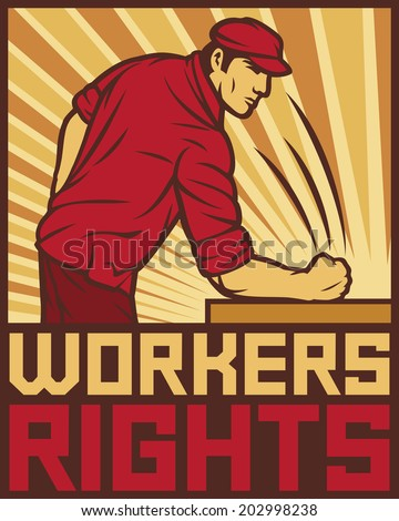 workers rights poster - fist hit of the table (workers rights design, poster for labor day) - stock photo