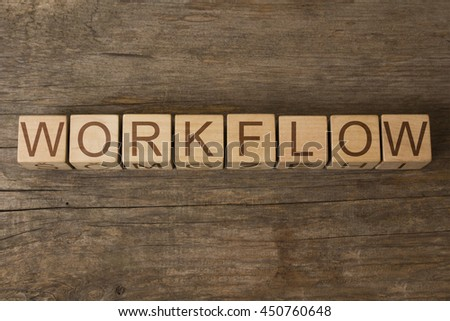 WORKFLOW word on wooden cubes - stock photo