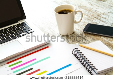 Working, analyzing and doing calculations  - stock photo