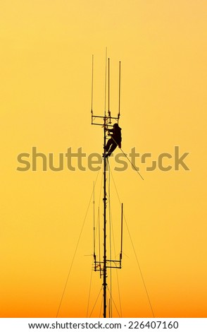 Working at height. - stock photo