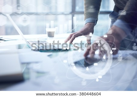 Working businessman and digital layer effect as business process concept - stock photo
