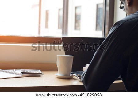 working businessman working in the morning time - stock photo