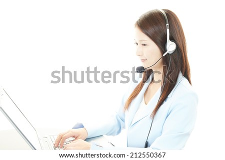Working call center operator